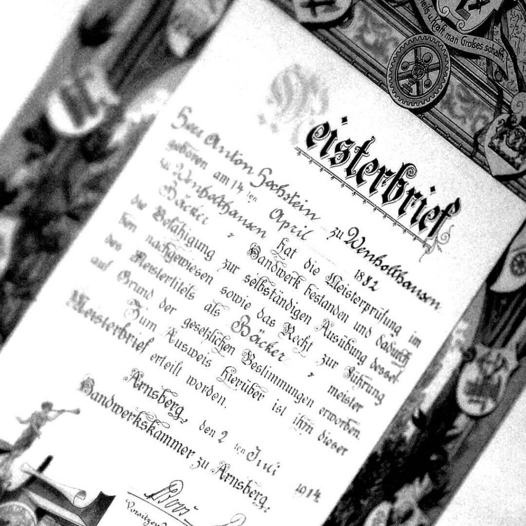 Meisterbrief Anton Hochstein